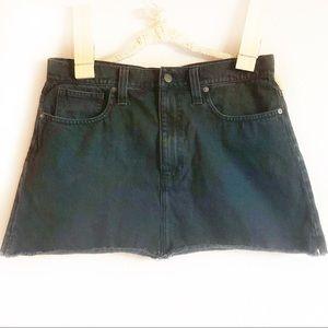 Madewell Raw Hem Black Denim Jean Skirt
